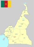 Χάρτης του Καμερούν Στοκ Εικόνες
