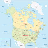 Χάρτης του Καναδά και των Ηνωμένων Πολιτειών Στοκ εικόνα με δικαίωμα ελεύθερης χρήσης
