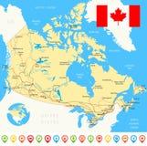 Χάρτης του Καναδά, σημαία, εικονίδια ναυσιπλοΐας, δρόμοι, ποταμοί - απεικόνιση Στοκ Φωτογραφίες