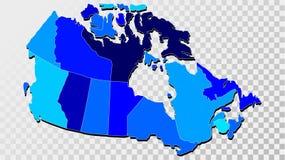 Χάρτης του Καναδά στις σκιές του μπλε Στοκ φωτογραφία με δικαίωμα ελεύθερης χρήσης