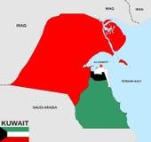 Χάρτης του Κουβέιτ Στοκ Φωτογραφία