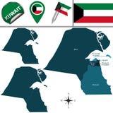 χάρτης του Κουβέιτ Στοκ Εικόνα