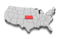 Χάρτης του κράτους του Κάνσας, ΗΠΑ διανυσματική απεικόνιση