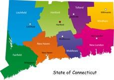 Χάρτης του κράτους του Κοννέκτικατ διανυσματική απεικόνιση