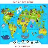 χάρτης του κόσμου με τα ζώα Στοκ Εικόνα