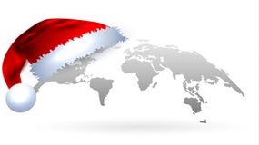 Χάρτης του κόσμου στο γκρι Έννοια Χριστουγέννων Στοκ Εικόνες