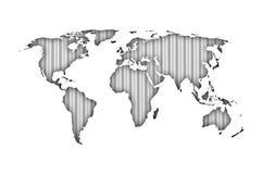 Χάρτης του κόσμου στο ζαρωμένο σίδηρο Στοκ Φωτογραφίες