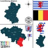 Χάρτης του Λουξεμβούργου, Βέλγιο Στοκ φωτογραφία με δικαίωμα ελεύθερης χρήσης