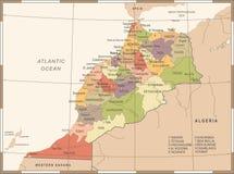 Χάρτης του Μαρόκου - λεπτομερής τρύγος διανυσματική απεικόνιση Στοκ Εικόνα