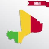 Χάρτης του Μαλί με το εσωτερικό και την κορδέλλα σημαιών απεικόνιση αποθεμάτων