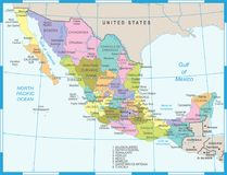 Χάρτης του Μεξικού - διανυσματική απεικόνιση Στοκ Φωτογραφία