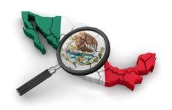 Χάρτης του Μεξικού με το loupe Στοκ Φωτογραφία