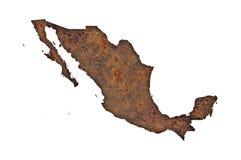 Χάρτης του Μεξικού στο σκουριασμένο μέταλλο ελεύθερη απεικόνιση δικαιώματος