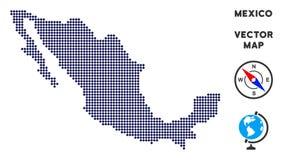 Χάρτης του Μεξικού Pixelated διανυσματική απεικόνιση