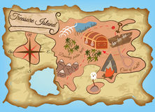 Χάρτης του Νησιού των Θησαυρών Στοκ φωτογραφία με δικαίωμα ελεύθερης χρήσης