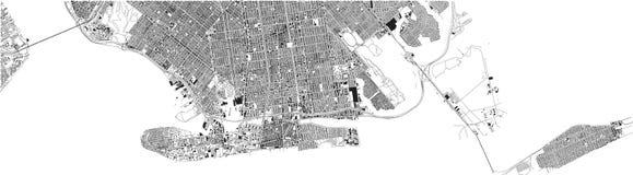 Χάρτης του νότιου Μπρούκλιν, πόλη της Νέας Υόρκης, οδοί και περιοχή ΗΠΑ Απεικόνιση αποθεμάτων