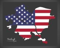 Χάρτης του Πίτσμπουργκ Πενσυλβανία με το αμερικανικό illustra εθνικών σημαιών Στοκ Φωτογραφία