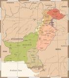 Χάρτης του Πακιστάν - λεπτομερής τρύγος διανυσματική απεικόνιση Στοκ φωτογραφία με δικαίωμα ελεύθερης χρήσης