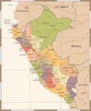 Χάρτης του Περού - λεπτομερής τρύγος διανυσματική απεικόνιση Στοκ Φωτογραφία