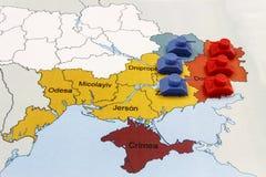 Χάρτης του πολέμου στην Ουκρανία με τις δεξαμενές Στοκ Εικόνες