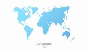 Χάρτης του πλανήτη Γη σε ένα επίπεδο ύφος Οι ήπειροι είναι μπλε Ο μεγάλος πλανήτης διανυσματική απεικόνιση