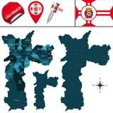 Χάρτης του Σάο Πάολο με τις επαρχίες απεικόνιση αποθεμάτων