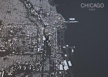 Χάρτης του Σικάγου, δορυφορική άποψη, Ηνωμένες Πολιτείες ελεύθερη απεικόνιση δικαιώματος