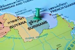 Χάρτης του Σουρινάμ Στοκ Φωτογραφίες