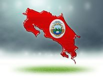 Χάρτης του σχεδίου της Κόστα Ρίκα με τη σύσταση χλόης των γηπέδων ποδοσφαίρου στοκ εικόνα με δικαίωμα ελεύθερης χρήσης
