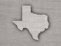 Χάρτης του Τέξας στο παλαιό λινό Στοκ φωτογραφία με δικαίωμα ελεύθερης χρήσης