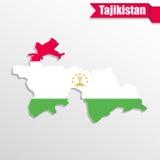 Χάρτης του Τατζικιστάν με το εσωτερικό και την κορδέλλα σημαιών απεικόνιση αποθεμάτων