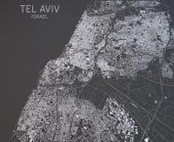 Χάρτης του Τελ Αβίβ, Ισραήλ, δορυφορική άποψη Στοκ Εικόνες
