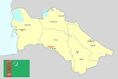 Χάρτης του Τουρκμενιστάν Στοκ φωτογραφία με δικαίωμα ελεύθερης χρήσης
