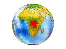 Χάρτης του υφάσματος DEM του Κονγκό στην τρισδιάστατη γη που απομονώνεται στοκ φωτογραφία με δικαίωμα ελεύθερης χρήσης