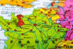 Χάρτης του Le Mans Γαλλία Στοκ εικόνα με δικαίωμα ελεύθερης χρήσης