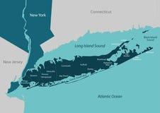 Χάρτης του Long Island διανυσματική απεικόνιση
