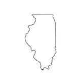 Χάρτης του U S Κράτος Ιλλινόις διανυσματική απεικόνιση