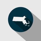 Χάρτης του U S κράτος Μασαχουσέτη διανυσματική απεικόνιση