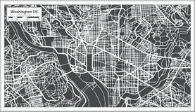 Χάρτης του Washington DC ΗΠΑ στο αναδρομικό ύφος διανυσματική απεικόνιση