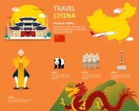 Χάρτης των εικονιδίων της Κίνας και ορόσημων για το ταξίδι ελεύθερη απεικόνιση δικαιώματος