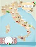 Χάρτης των ζυμαρικών των ιταλικών απεικόνιση αποθεμάτων