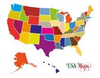 Χάρτης των Ηνωμένων Πολιτειών της Αμερικής ΗΠΑ με τη ζωηρόχρωμη κρατική απεικόνιση στο άσπρο υπόβαθρο Ελεύθερη απεικόνιση δικαιώματος