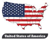 Χάρτης των Ηνωμένων Πολιτειών της Αμερικής και σημαία-διάνυσμα των Ηνωμένων Πολιτειών της Αμερικής απεικόνιση αποθεμάτων