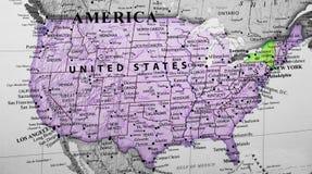 Χάρτης των Ηνωμένων Πολιτειών της Αμερικής που δίνουν έμφαση στο κράτος της Νέας Υόρκης στοκ εικόνα με δικαίωμα ελεύθερης χρήσης
