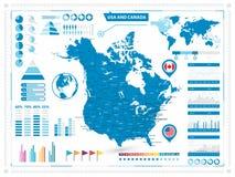 Χάρτης των ΗΠΑ και του Καναδά με τα infograpchic στοιχεία Στοκ Φωτογραφία