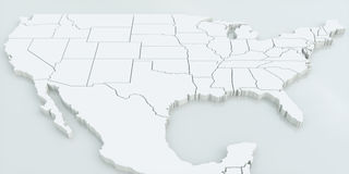 Χάρτης των ΗΠΑ και του Μεξικού Ιδιαίτερα λεπτομερής τρισδιάστατη απόδοση ελεύθερη απεικόνιση δικαιώματος