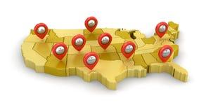Χάρτης των ΗΠΑ με τους δείκτες Στοκ Εικόνες