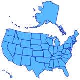 Χάρτης των ΗΠΑ Στοκ Εικόνες
