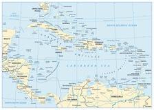 Χάρτης των Καραϊβικών Θαλασσών διανυσματική απεικόνιση