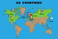 Χάρτης των μελών της ομάδας G8 διανυσματική απεικόνιση